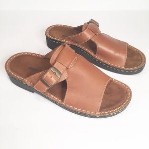 Minnetonka Classic Buckle Slide Leather Sandals